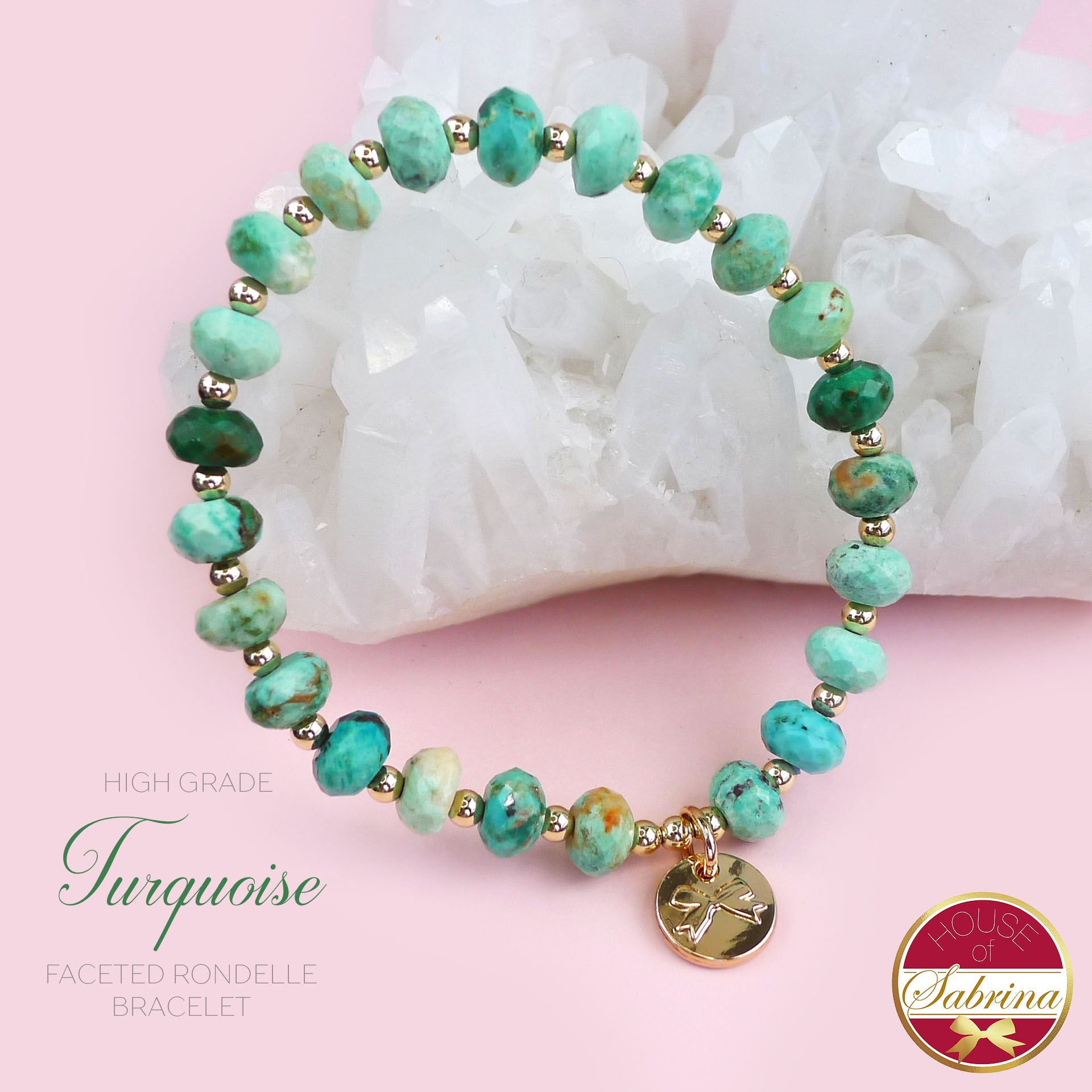 HIGH GRADE FACETED RONDELLE TURQUOISE GEMSTONE BRACELET