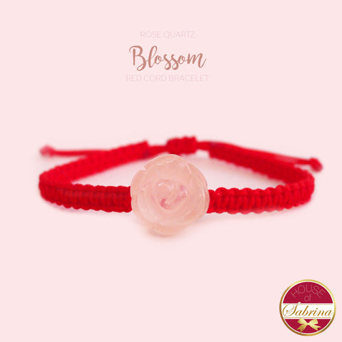 ROSE QUARTZ BLOSSOM RED CORD BRACELET