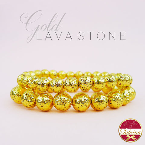 GOLD PLATED LAVA STONE