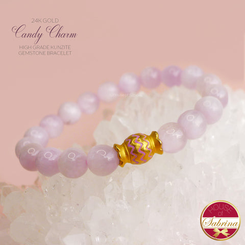 24K GOLD CANDY CHARM + HIGH GRADE KUNZITE GEMSTONE BRACELET