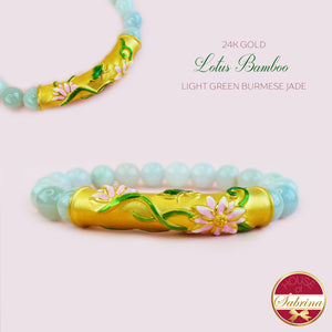 24K GOLD LOTUS BAMBOO + LIGHT GREEN BURMESE JADE