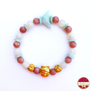 24K Gold Fortune Cat with Money Bags in Jade Sunstone & Moonstone Bracelet