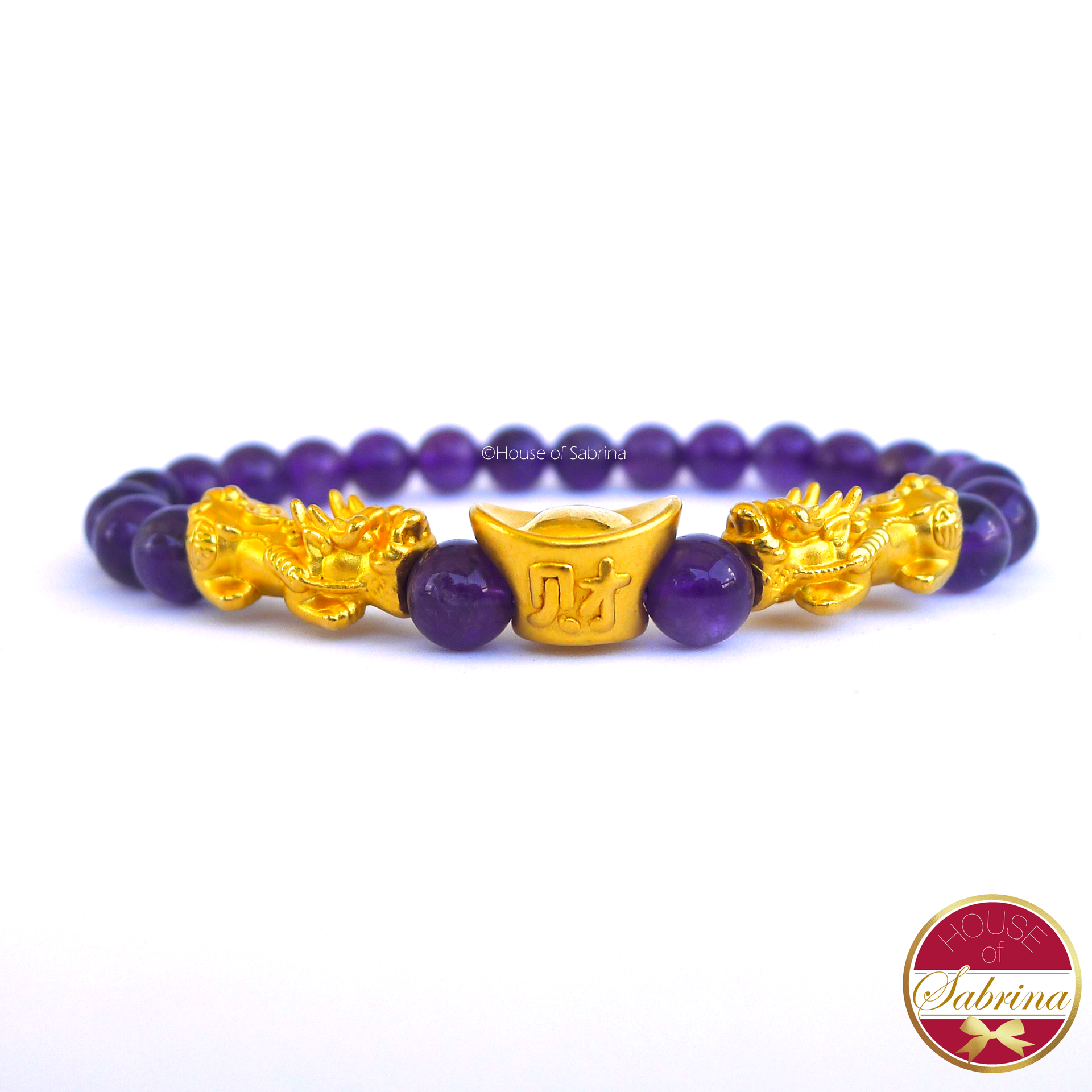 24K Gold Medium Double Pi Yao with Money Bar in Amethyst Crystal  Bracelet