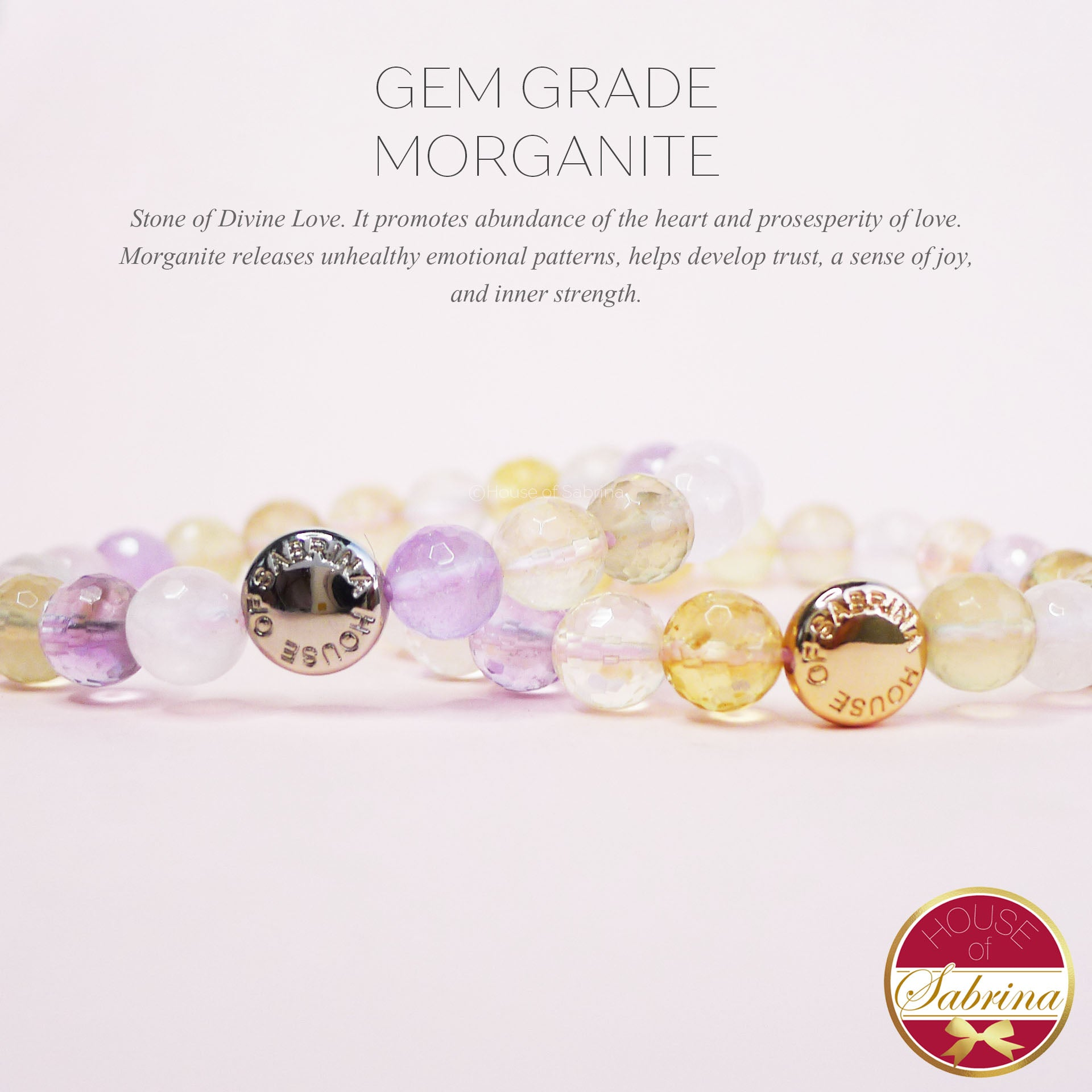 GEM GRADE MORGANITE GEMSTONE BRACELET
