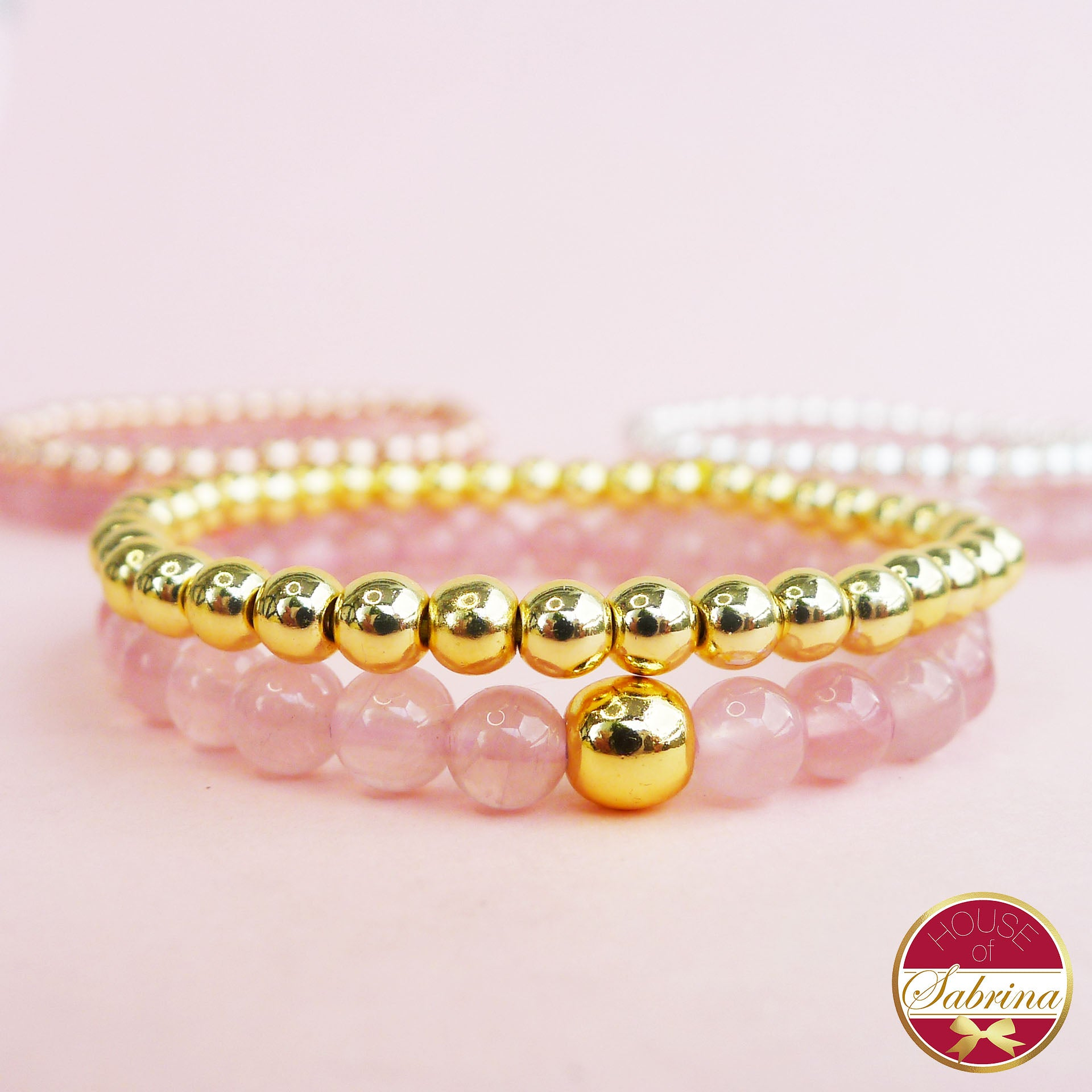 HIGH GRADE MADAGASCAN ROSE QUARTZ + GOLD HEMATITE DOUBLE STACK