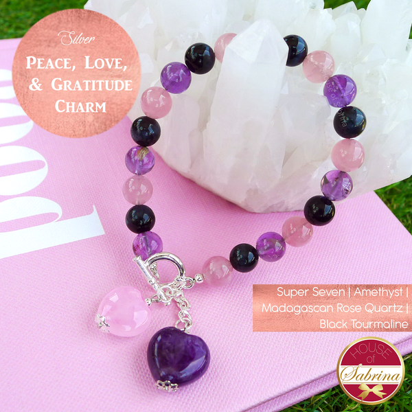 Peace Love and Gratitude Gemstone Charm Bracelet