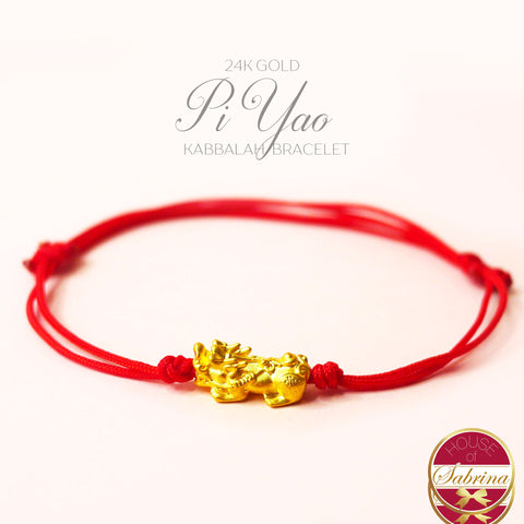24K GOLD MINI PI YAO RED STRING CORD KABBALAH BRACELET