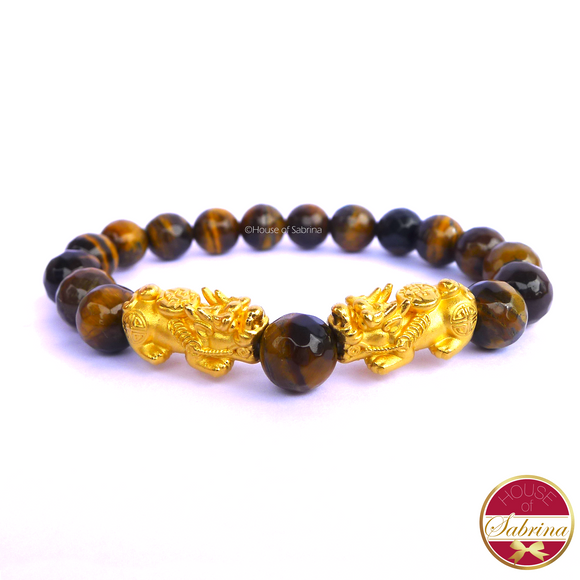 24K Gold Medium Double Pi Yao in Tiger Eye Gemstone Lucky Charm Bracelet