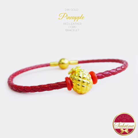 24K GOLD PINEAPPLE ON RED LEATHER CORD BRACELET