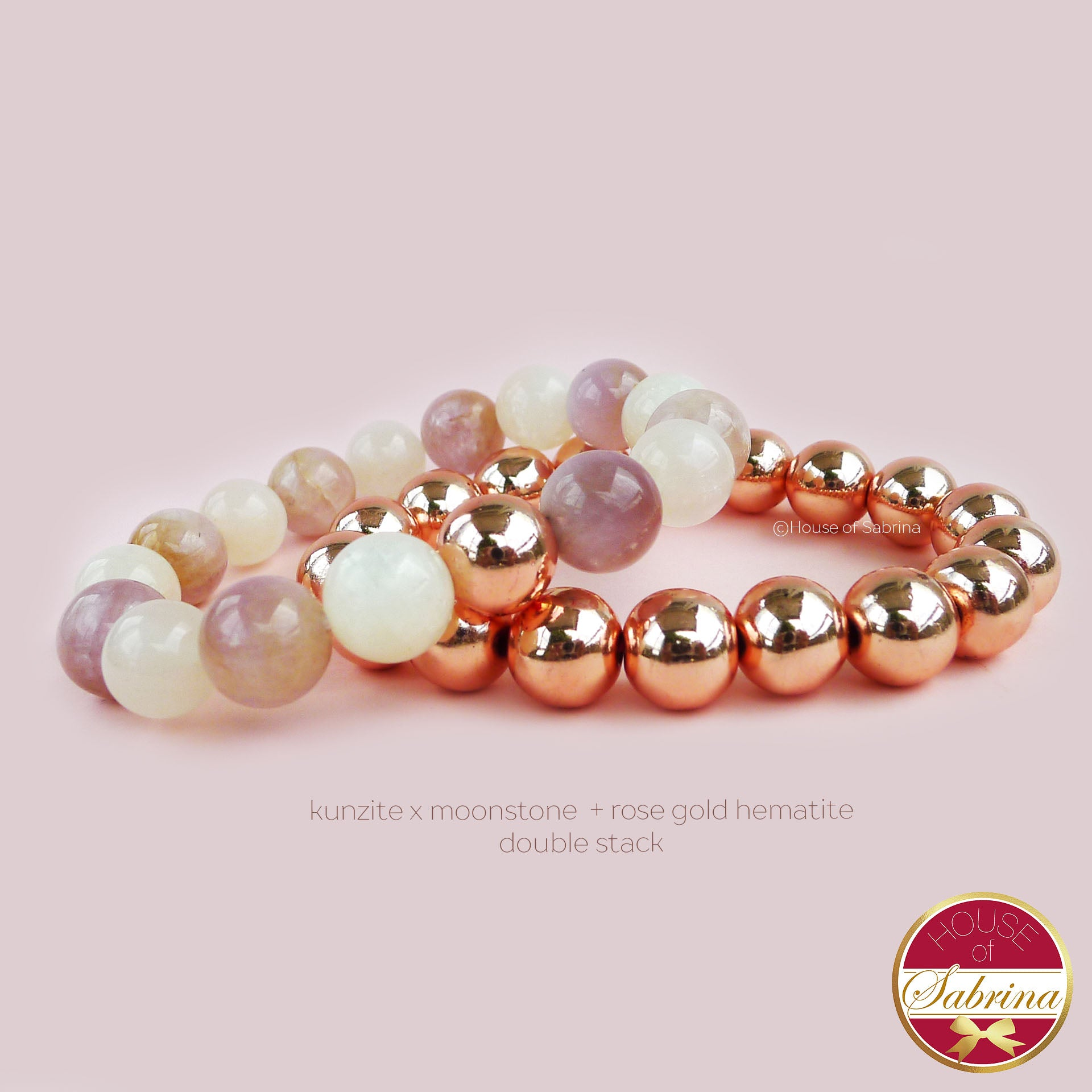 KUNZITE X MOONSTONE + ROSE GOLD HEMATITE DOUBLE STACK BRACELET