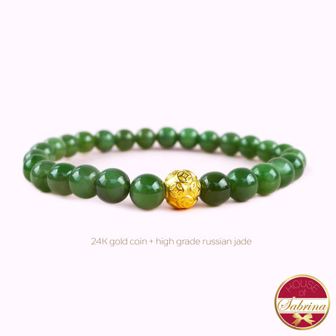 24K GOLD COIN + HIGH GRADE RUSSIAN JADE