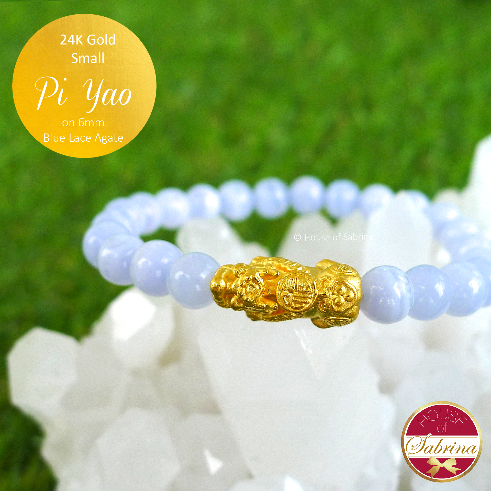 24K Gold Small Pi Yao on 6mm Blue Lace Agate Gemstone Bracelet
