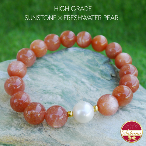 High Grade Sunstone x Freshwater Pearl x 24K Gold