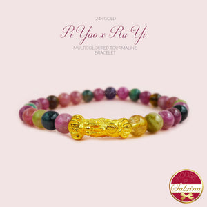 24K GOLD PI YAO  RU YI + 6MM HIGH GRADE MULTICOLOURED TOURMALINE BRACELET
