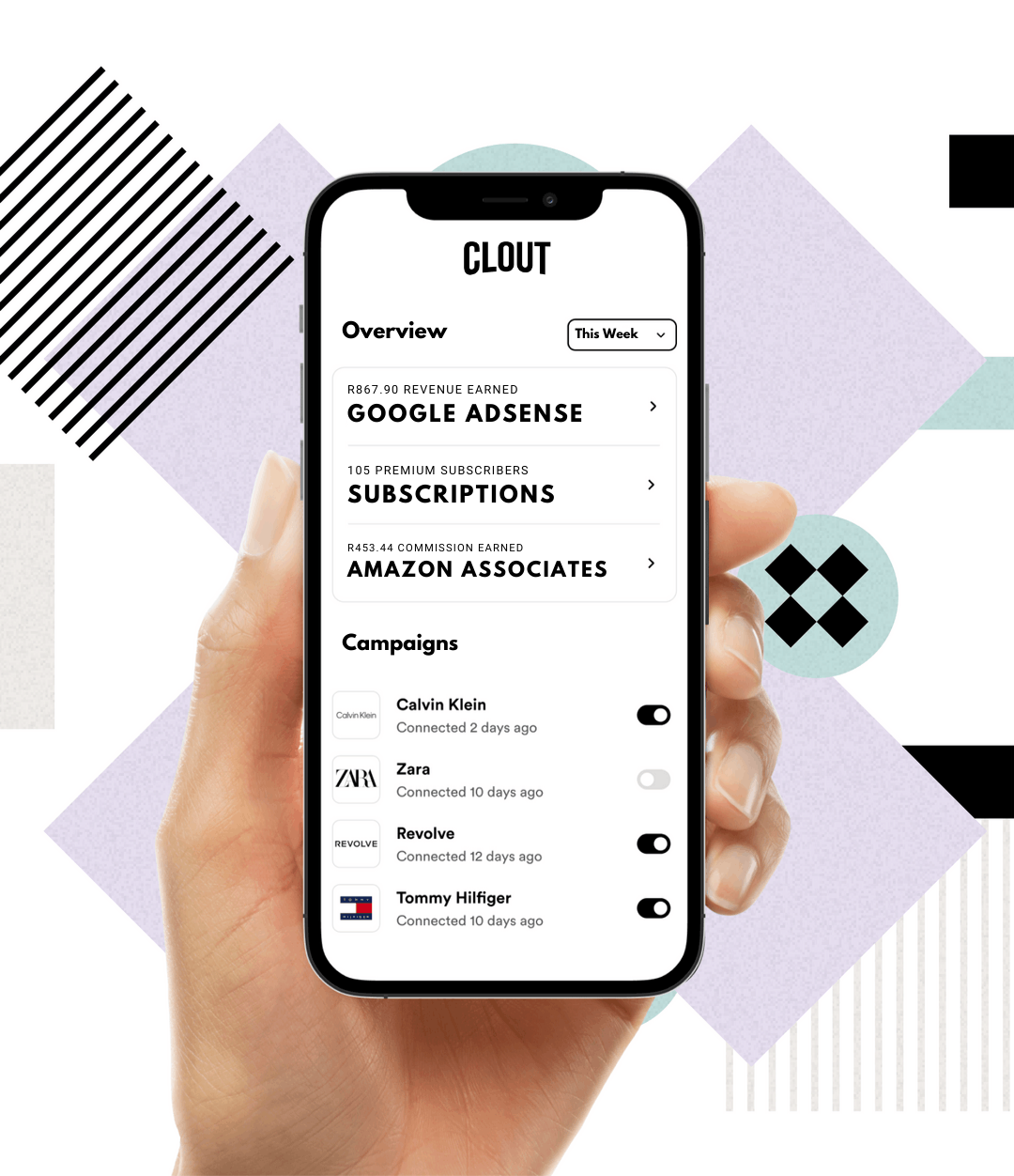 Image of a hand holding an iPhone with the Clout Directory app open