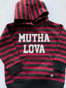 Kids Burgundy and Black Stripe Hoodie