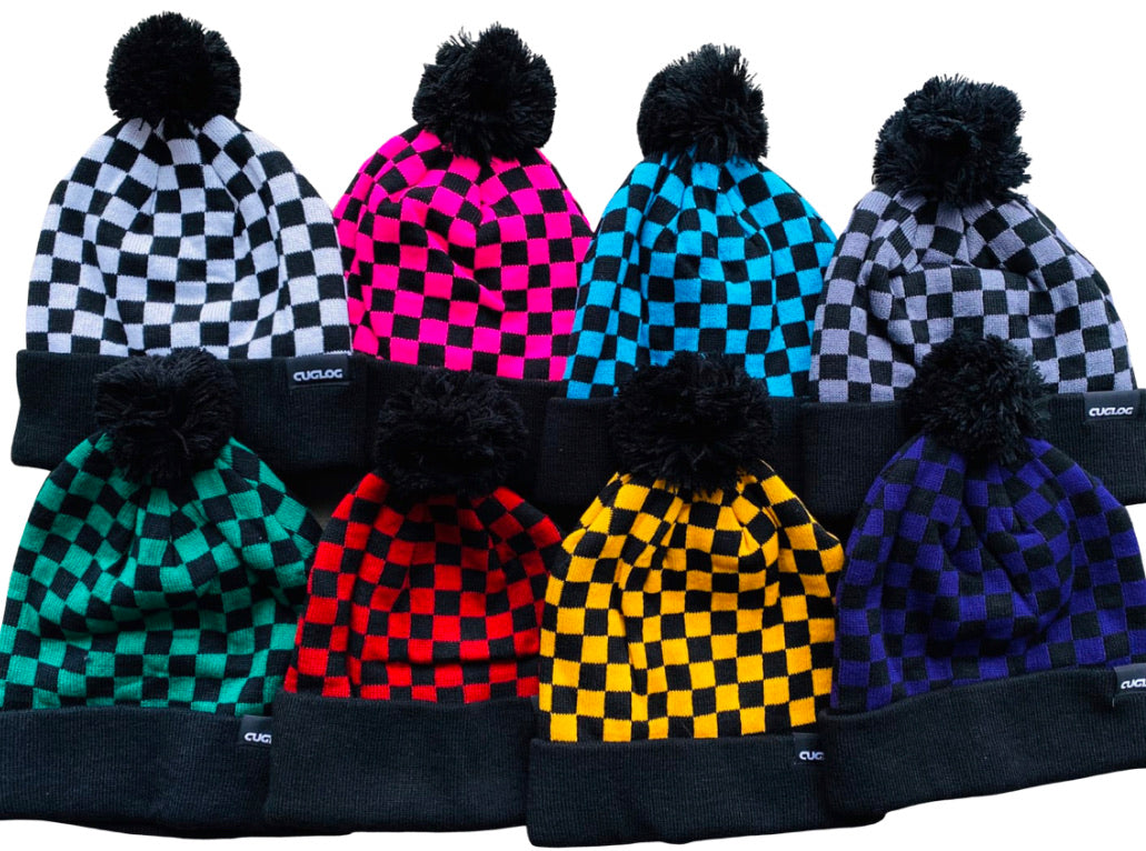 Checkered Pom Beanie Plain
