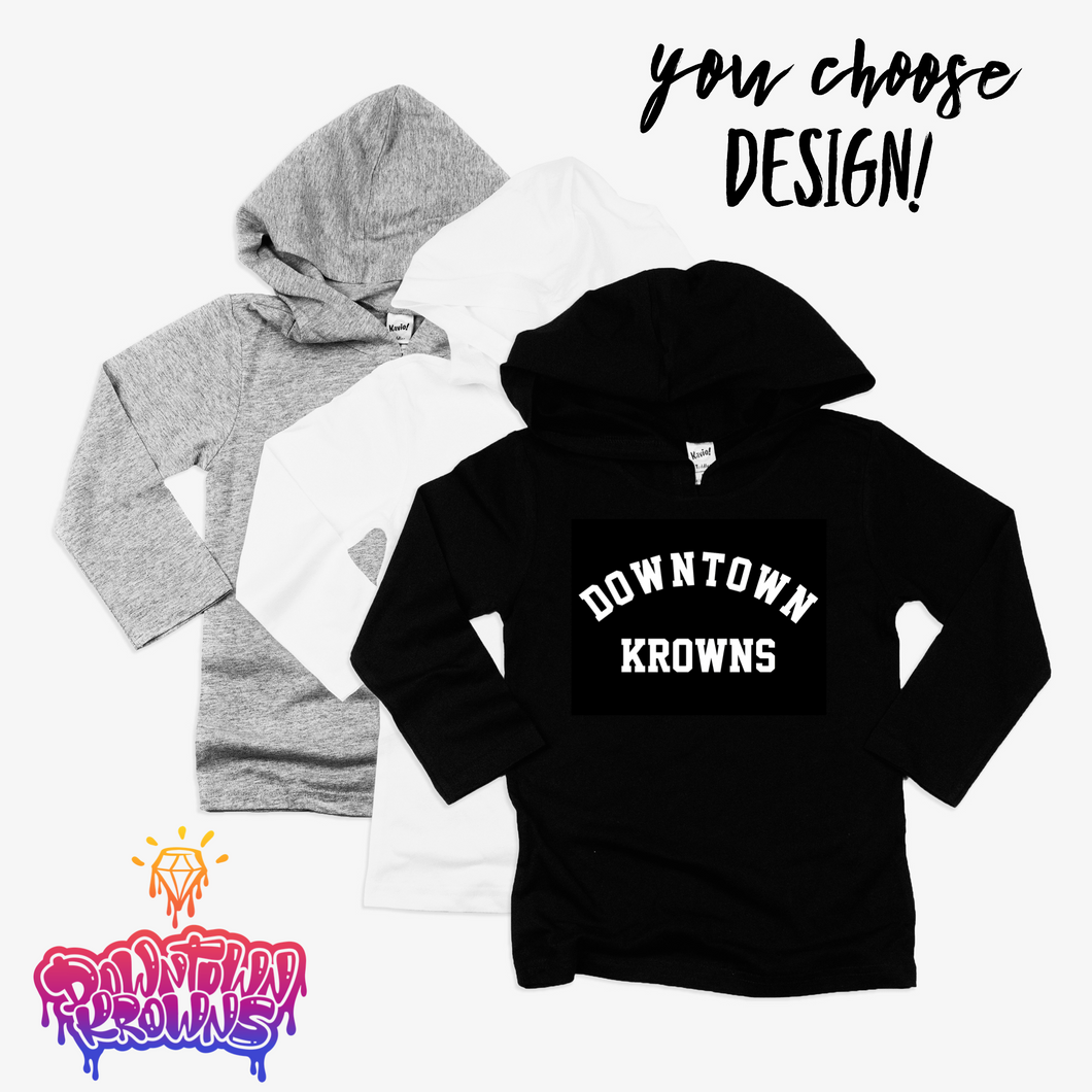 Kids Hooded Long Sleeve Tee (You Choose Design)