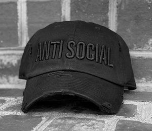 Adult Distressed Anti Social Hat Black/Black