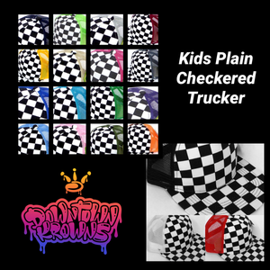 Kids Plain Checkered Trucker Hat