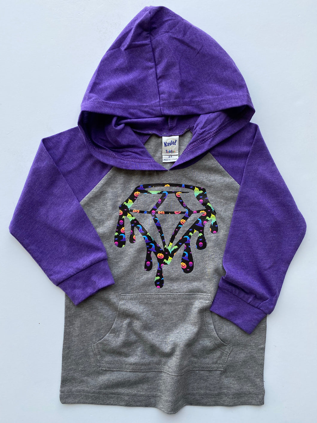 Kids Gray/Purple Hooded Raglan Drip Diamond Halloween