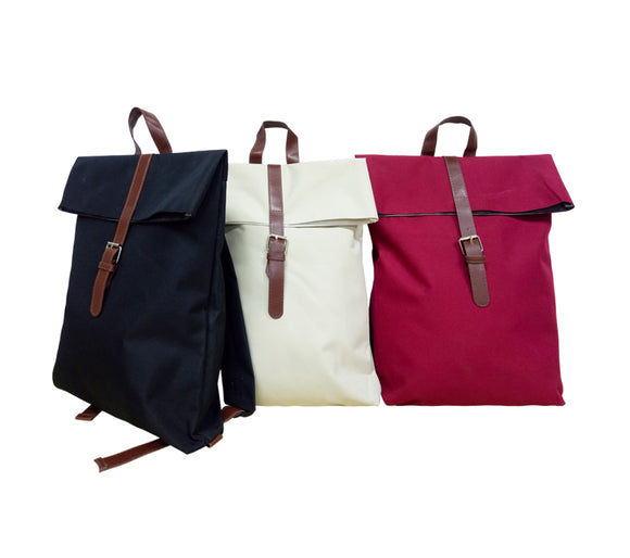 300D Nylon Backpack w/inner lining & PU Leather strap