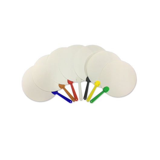 18cm White PP Fan with handle