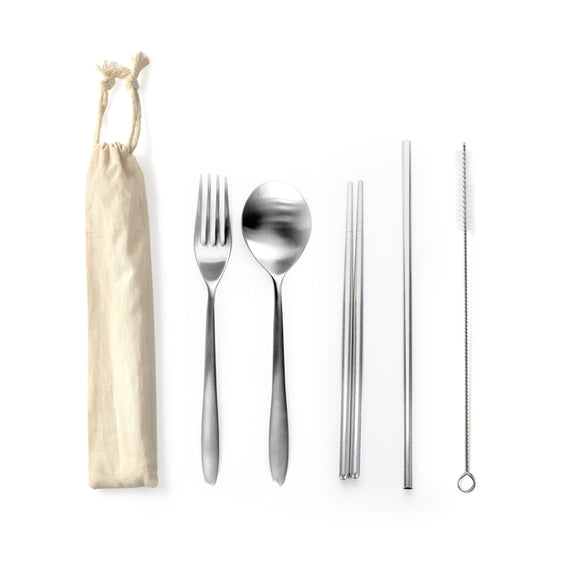 STAINLESS STEEL 5PCS CUTLERY SET W STRAW