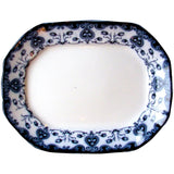 "1890s Ford & Sons Flow Blue ""Oxford"" Pattern Aesthetic English Platter"