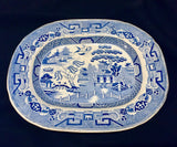 1830's William Ridgway Blue White Willow Platter, Rare & Early WR Mark