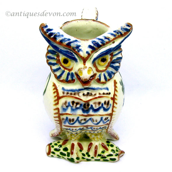 c. 1900 Antique Swiss Thun or Thoune Pottery Small Owl Jug Figure