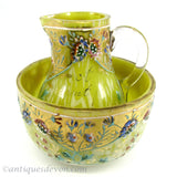 1880's Antique Victorian Isle of Man Enameled Glass Pitcher & Bowl Set