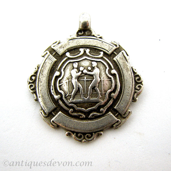 1900 Antique Chunky Sterling Boxing Medal Necklace Pendant, 2 Boxers