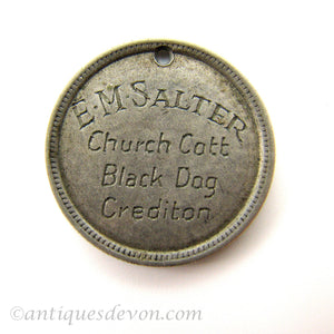 1930s E.M. Salter family engraved Love Token, Black Dog, Devon England