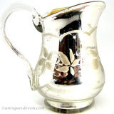 1840's Early Small Antique Victorian Mercury Glass Etched Jug/Pitcher