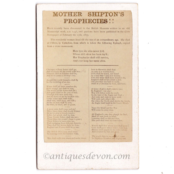 1877 Mother Shipton's Prophecies Victorian Album Filler CDV Photo