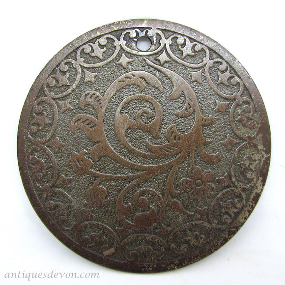 1890 Large Round Antique Victorian Copper Plated Disc, Scroll Pattern