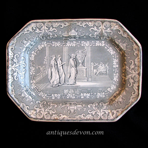 1840 Clementson Small Penelope of Homer's Odyssey Transferware Platter
