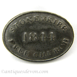 1844 Original Antique Stoneykirk Church Communion Token, Scotland