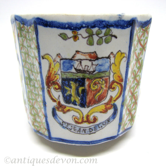 1860's Antique St. Jean De Luz Crest Faience Tin Glazed French Cup