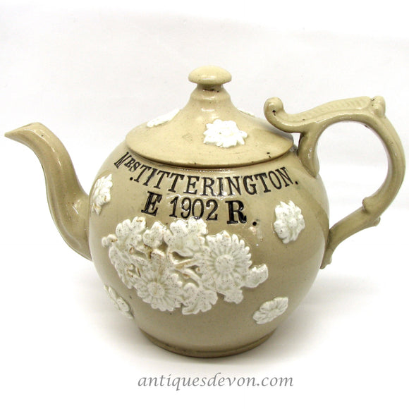 1902 Mrs. Titterington's English Edwardian Sprigged Stoneware Teapot