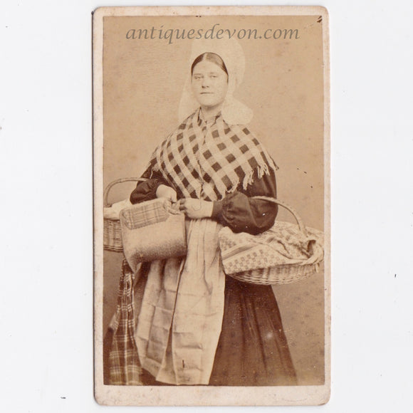 1860's Dutch Flemish Woman CDV Photo in Traditional Holland Costume