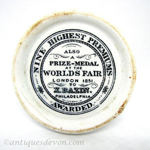 1850's Xavier Bazin Philadelphia Perfumery Advertising Antique Pot Lid