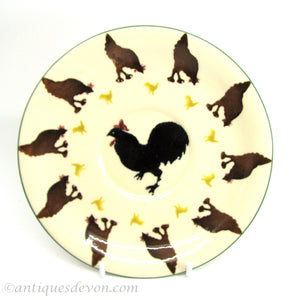Early Emma Bridgewater Black Cockerel Rooster-Brown Chicken Hens Plate