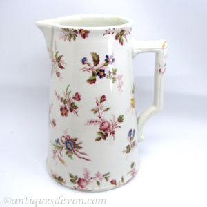1890's Antique French Sarreguemines Water Jug, Chintz Chintzy Pattern