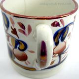 1840's Antique Gaudy Welsh Cup Mug w/ Buddha or Smoking Indian Pattern