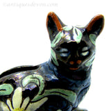 c. 1900 Antique Swiss Thun or Thoune Pottery Small Cat Figural Bank