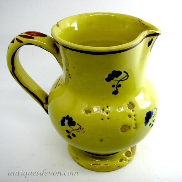c. 1900 Small Antique Yellow French Faience Creamer Pottery Jug