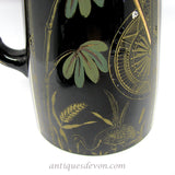 1870's Eastlake Victorian English Jackfield Jet Black Ware Jug