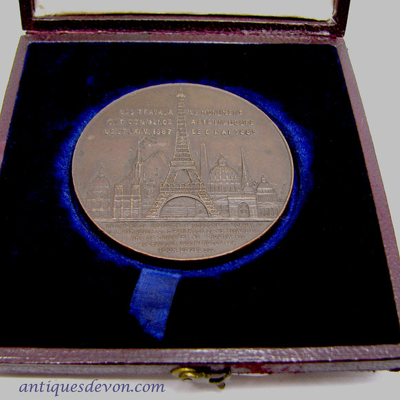 1889-1898 F.E. Hardeman's Bronze Eiffel Tower Ascension Medal in Box